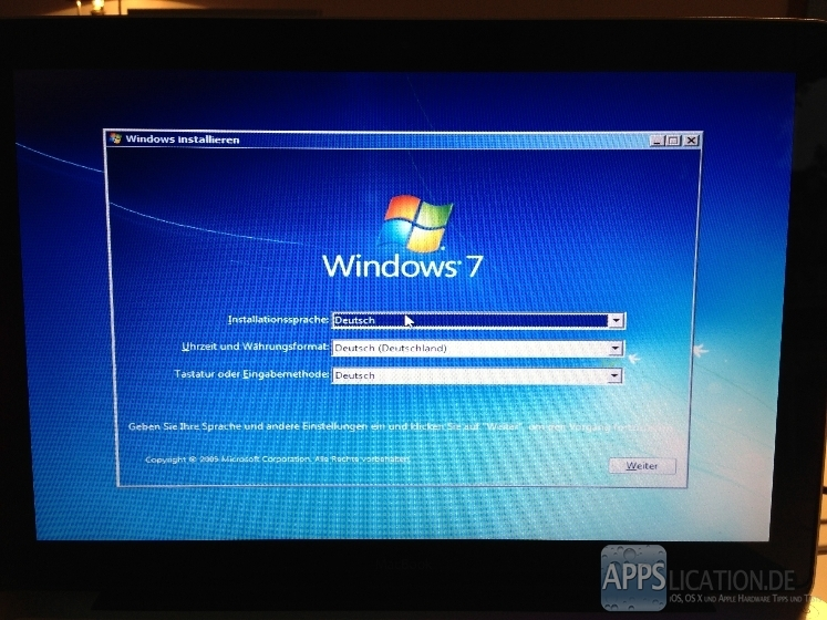 Installation von Windows 7 mit Boot Camp