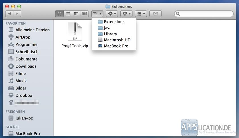 Mac Java Extension Erweiterung IOTools einbinden