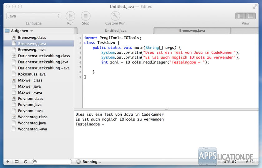 Mac CodeRunner Java IOTools