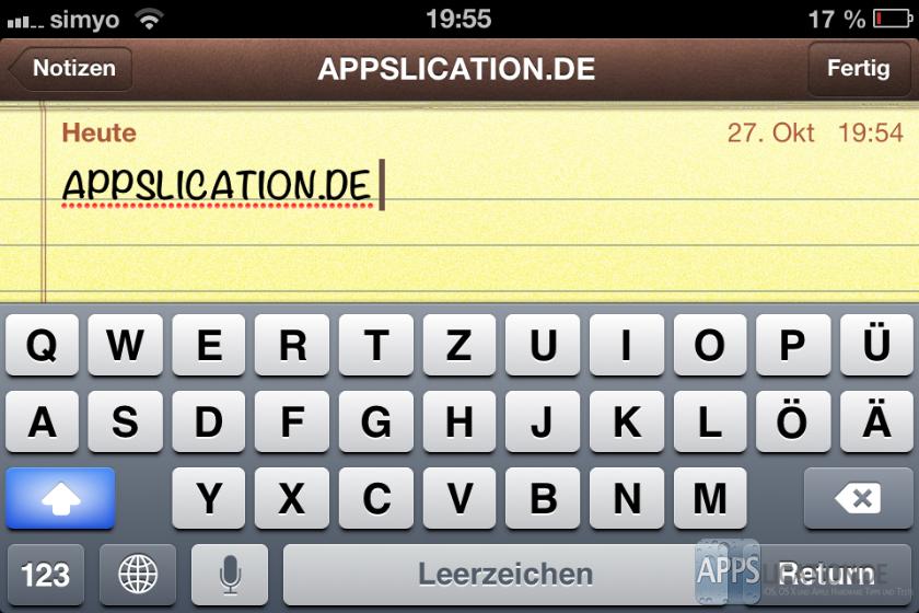 Grossschreiben auf dem iPhone und iPad