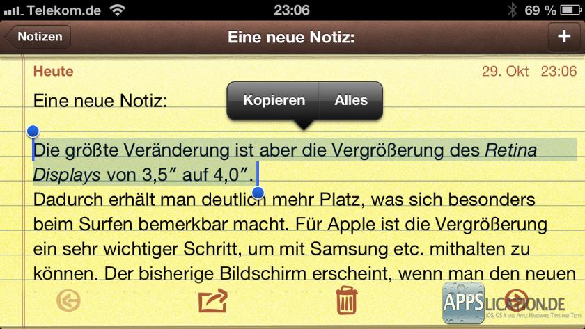 iPhone iPad ganzen Satz oder Absatz markieren