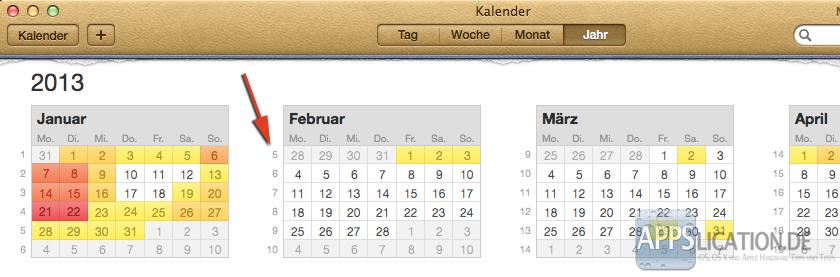 Mac Kalender Kalenderwochen Jahresansicht