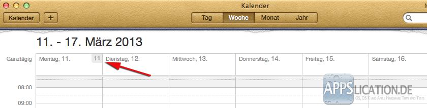 Mac Kalender Kalenderwochen Wochenansicht