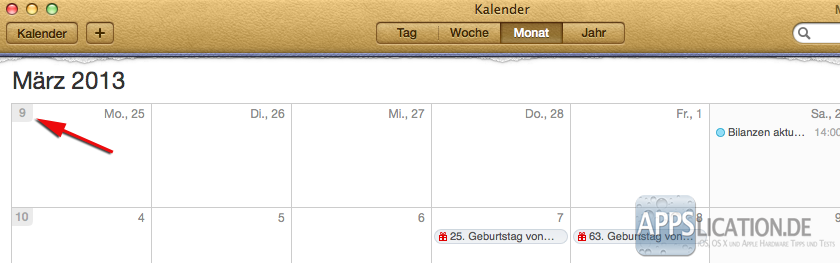 Mac Kalender Kalenderwochen Monatsansicht