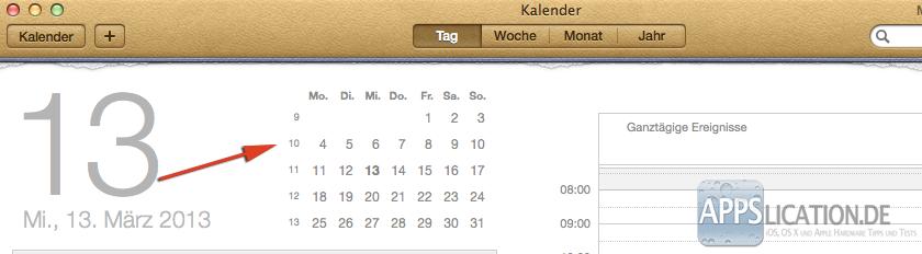 Mac Kalender Kalenderwochen Tagesansicht