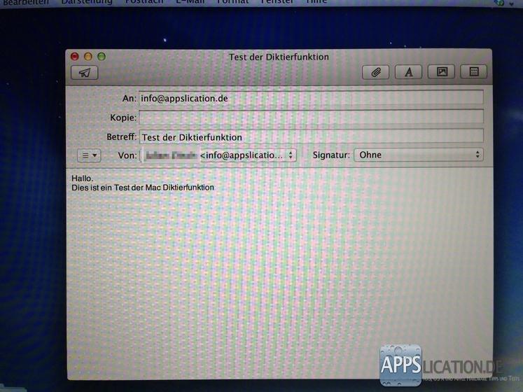 Mac Diktierfunktion in der Anwendung