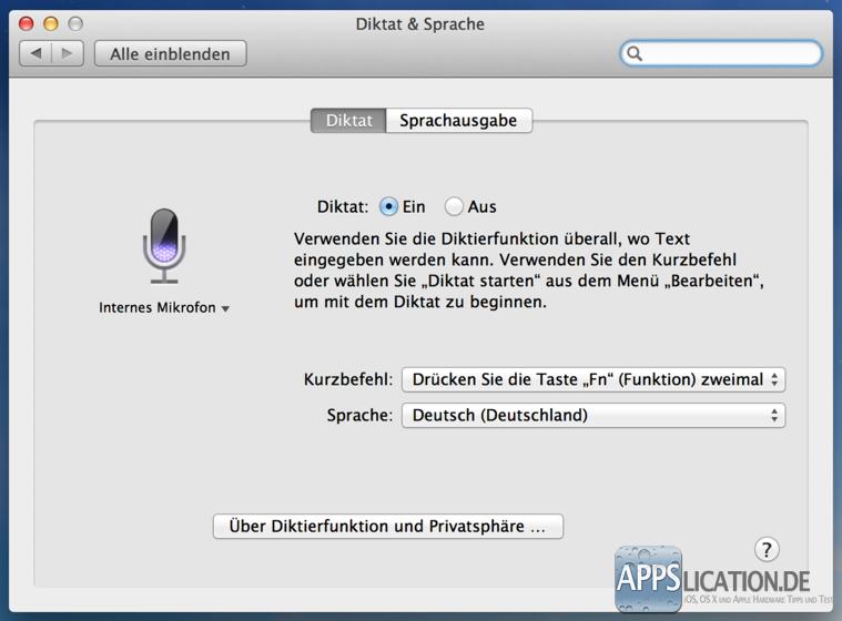 Mac Diktierfunktion Einstellungen