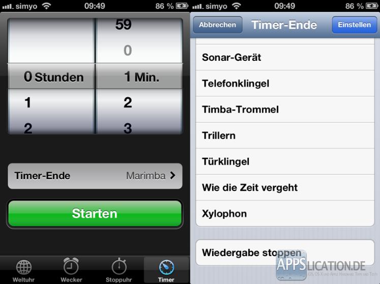 Musikwiedergabe bei iPhone und iPod touch mit Timer beenden