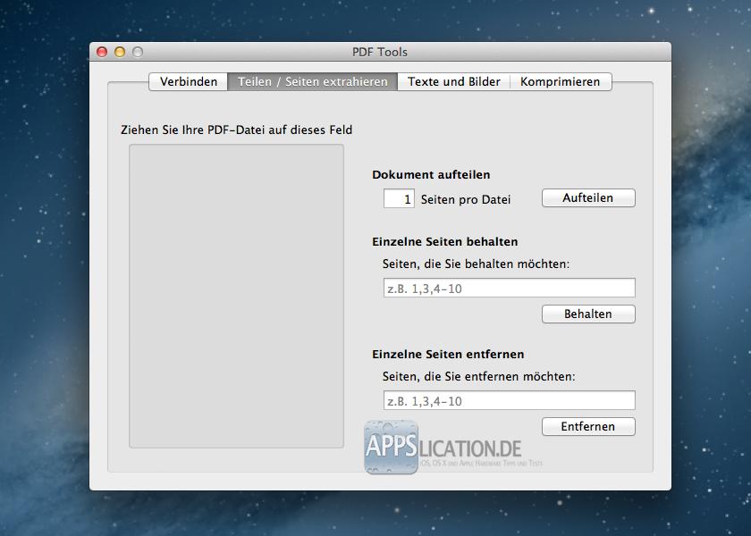 PDF Toolkit Teilen und Seiten extrahieren
