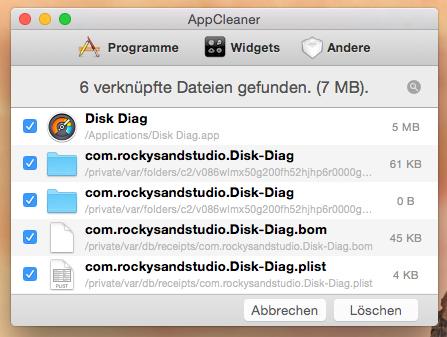 AppCleaner sucht alle zu einem Programm zugehörigen Hilfsdateien und ermöglicht es diese zusammen mit dem Programm zu entfernen.
