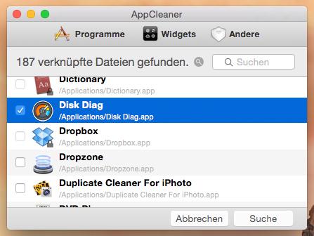 """Das kleine Tool enthält eine Liste mit allen Programmen, die sich auf dem Mac befinden. Um die Programmdateien zu suchen, markiert das Programm und klickt anschließend auf """"Suchen""""."""