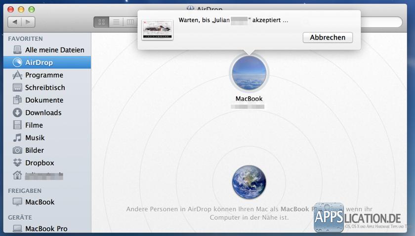 Mac OS X Airdrop