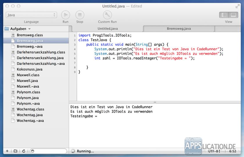 Mac CodeRunner Java IOTools