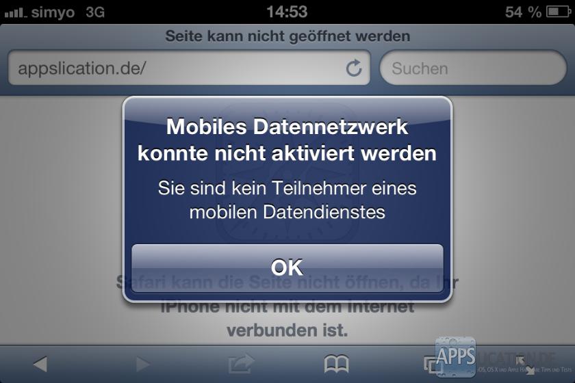 Fehlermeldung: Mobiles Datennetzwerk konnte nicht aktiviert werden - Sie sind kein Teilnehmer eines mobilen Datendienstes