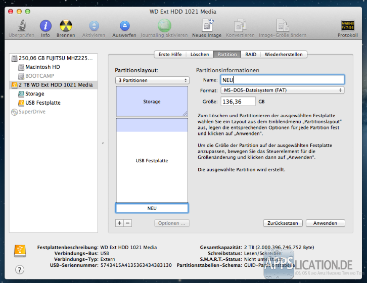 Mac: Festplatte partitionieren