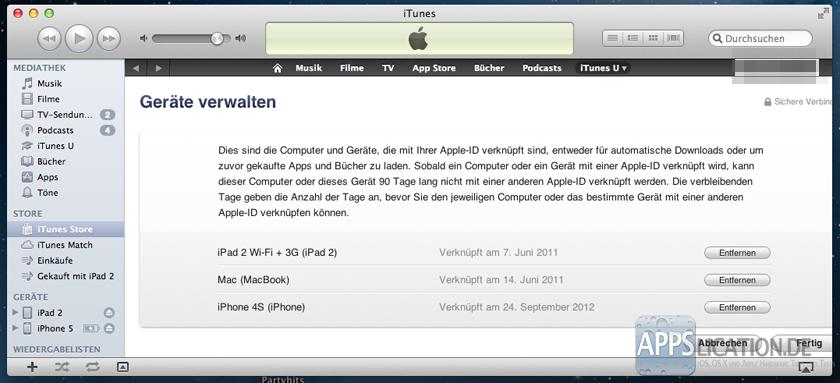 iTunes iCloud iPhone entfernen