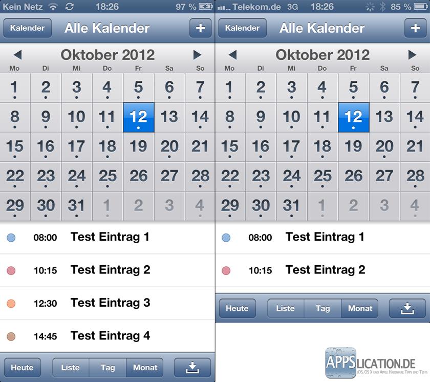 Vergleich der Displaygröße des iPhone Kalenders