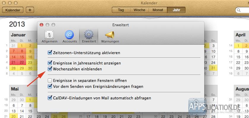 Mac Kalender Kalenderwochen Einstellungen