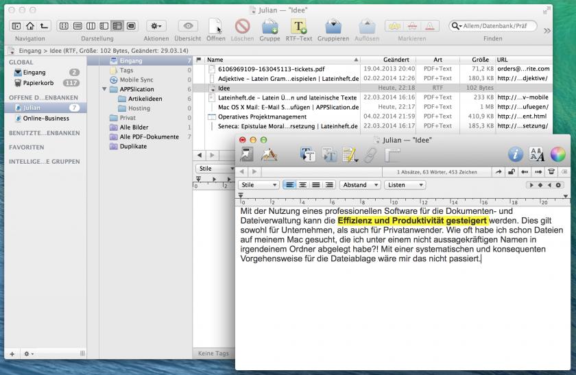 Notizen können direkt in den Ordner erstellt und bearbeitet werden.